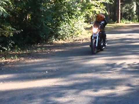 Halloween  real pumpkin head biker