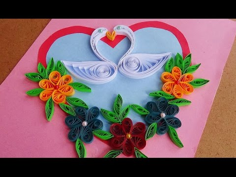 Paper art | How to make Beautiful Quilling Heart with swans |  paper quilling art