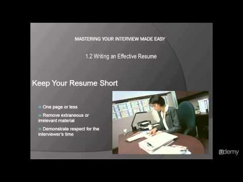 Mastering In Interview l How To Write An Effective Resume