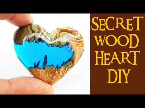 4 SECRET WOOD HEART DIY (no power tools) how to make epoxy resin heart polymer clay craft
