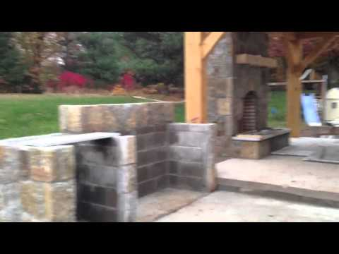 How to build outdoor fireplace pavilion with outdoor kitche