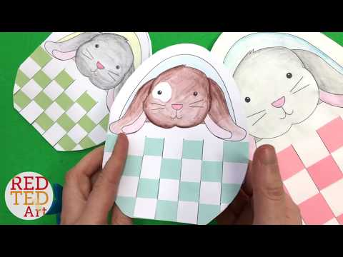Bunny Basket Paper Weaving with Template