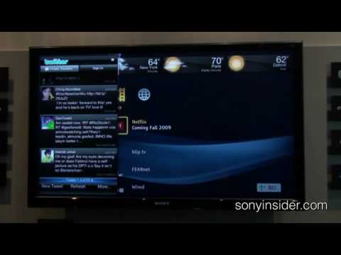 Twitter And Netflix On Sony Bravia Internet Widgets