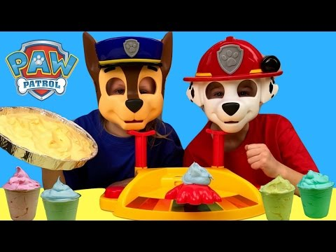 Paw Patrol Pie Face Dress Up Game Challenge LEARN COLORS Messy KIDS Pretend Play