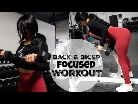 BACK & BICEP INSTRUCTIONAL FOCUSED WORKOUT | Toronto Vlog