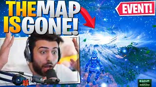 THE END OF FORTNITE! THE MAP IS GONE! EVENT REACTION (Fortnite Battle Royale Chapter 2)