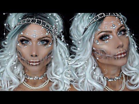 Pearl skull | Ice queen Halloween makeup tutorial | beeisforbeeauty