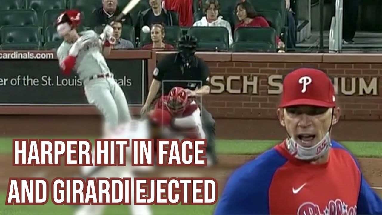 Harper gets hit in the face and Girardi gets ejected, a breakdown