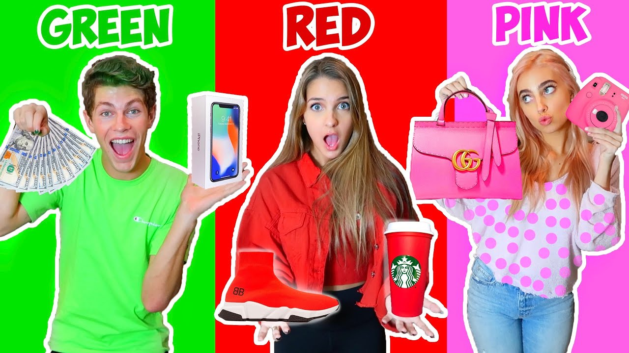 BUYING Everything In ONE COLOR For 24 Hours CHALLENGE!