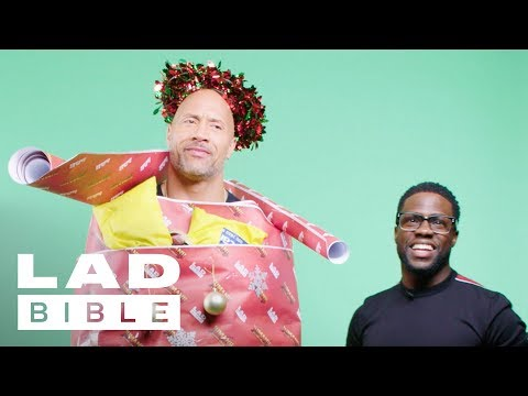 Jumanji's Dwayne 'The Rock' Johnson and Kevin Hart Dress Each Other With Christmas Decorations