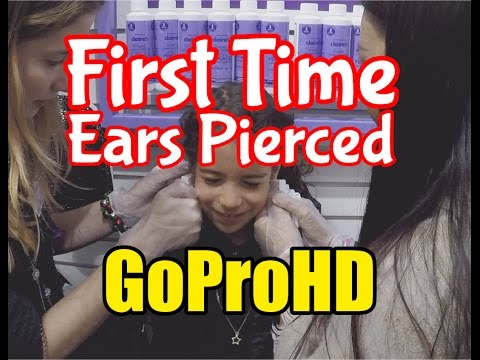 First Time Ear Piercing 7 Yr Old Little Girl At Claire's (GoPro HD) - Ear Piercings At Claire's