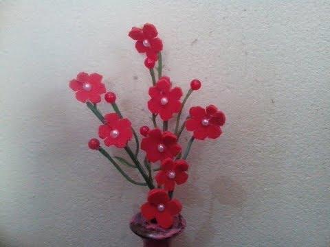 How to make foam sheet flower stick.Decorative flower stick making tutorial.