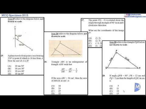 25,26,27&28 | Geometry and Trigonometry | Specimen 2015 Multiple Choice | CSEC Mathematics
