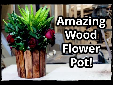 Homemade wood flower pot