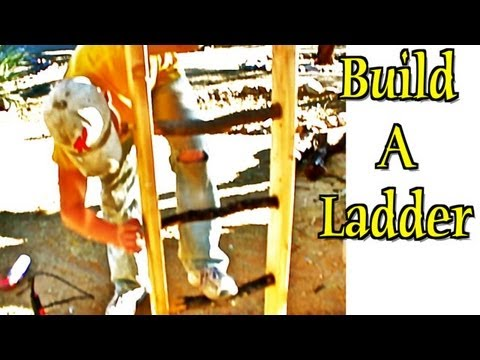Ladder Construction - Build using rustic wood logs/branches