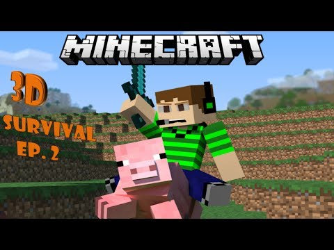 Minecraft | 3D Survival Ep. 2 How to build a Hobbit Hole!