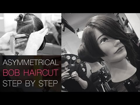 Asymmetrical Bob Haircut Step by Step With Dry Cutting Techniques - How To Cut A Asymmetrical Bob