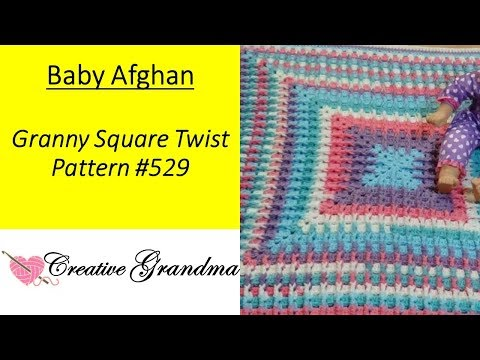 Granny Square Twist Baby Afghan Pattern # 529 Crochet Tutorial