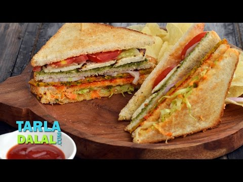 Veg Club Sandwich by Tarla Dalal