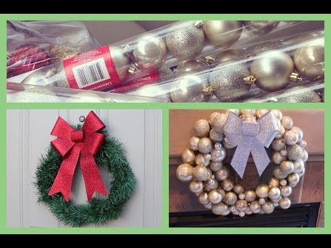 #CraftyChristmas Video One! DIY Ornament  Wreath and Dollar Store Wreath!