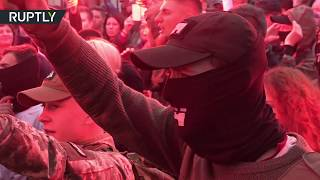 RAW: Thousands far-right protesters march in Kiev under banner