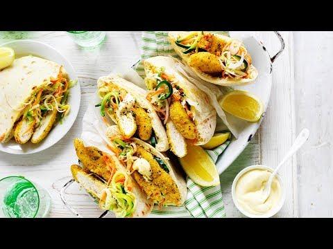 Lemon and pepper chicken, zucchini slaw pitas