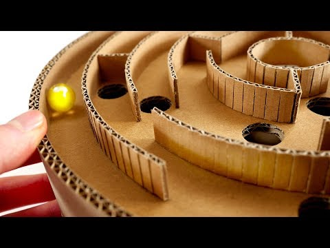 Make DIY Round Labyrinth Marble Board Game Maze from Cardboard