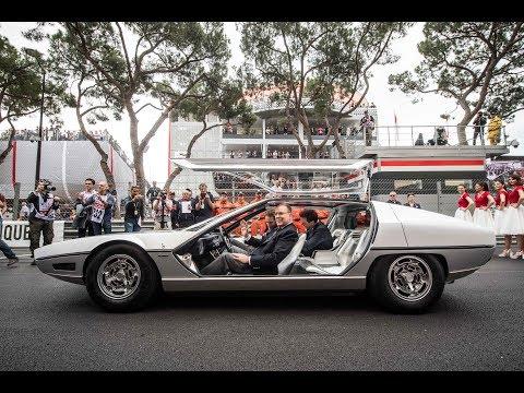 Prince Albert of Monaco drives a Lamborghini Marzal, historic 1967 GP de Monaco - Unravel Travel TV