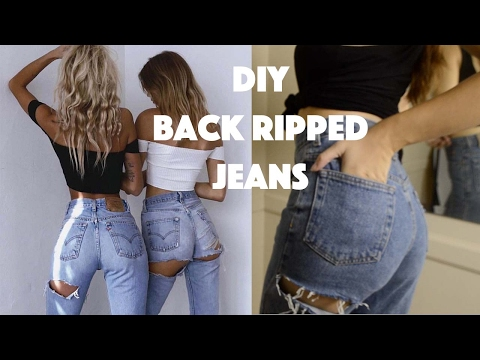 DIY Back Ripped Jeans I Upcycle Thrifted Jeans