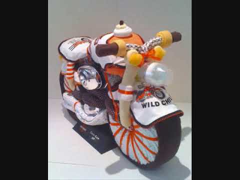Unique diaper cakes, Baby shower gift ideas Harley Davidson motorcycle diaper cake
