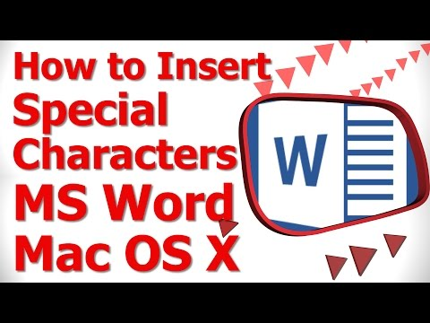 How to Insert Special Characters MS Word Mac OS X