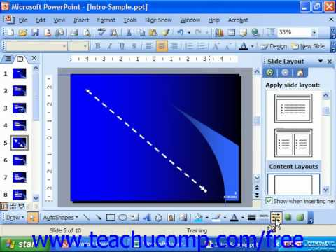 PowerPoint 2003 Tutorial Inserting Lines & Arrows Microsoft Training Lesson 19.2