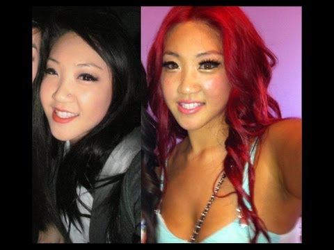 DIY tutorial how to get BRIGHT RED HAIR from dark hair