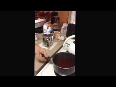 The making of Red Hot Applesauce Jello