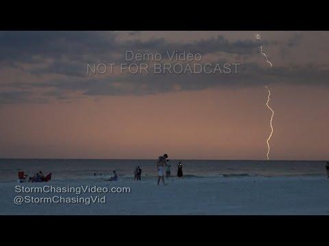 Intense Lightning over Siesta Key, FL at Sunset - 8/14/2016