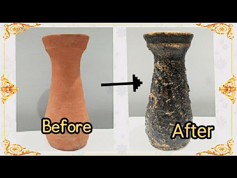 DIY- Pot Painting | Texture Pot | Home Decor | Enjoy Crafting # 46