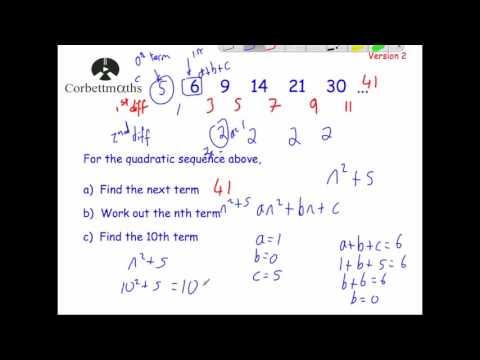 Quadratic Sequences version 2 - Corbettmaths