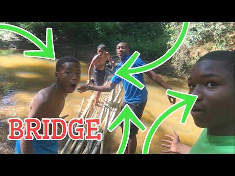 WE BUILT A WORKING BRIDGE IN THE WOODS!