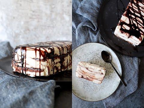 Vanilla Parfait With Chocolate Syrup - No Machine Ice Cream - By One Kitchen
