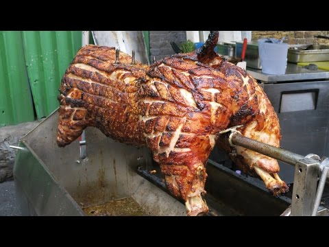 London Street Food. Whole Pig Roasting for Sandwiches. Seen in Borough Market