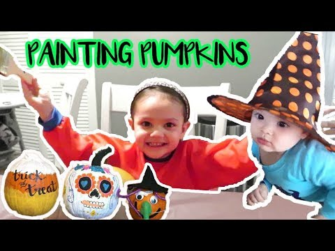 HALLOWEEN PAINTING PUMPKINS! | family vlog