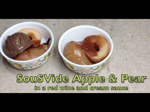 Red Wine Poached Pear & Apple SousVide Recipe cheekyricho