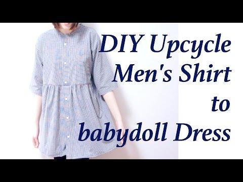 Refashion DIY Men's Shirt to smock / babydoll Dress // 古着 ✂️ リメイクㅣmadebyaya