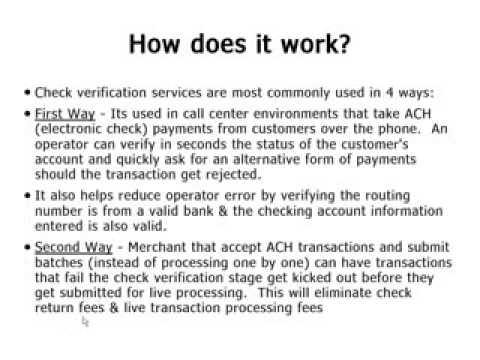 Check Verification : How to Verify funds and Bank Routing Numbers