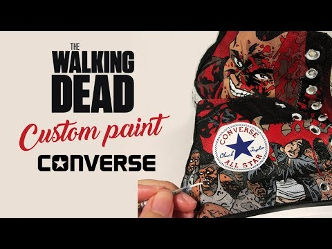 bd1cb3046f35  DIY  The Walking Dead Custom Converse by Annatar เพ้นท์รองเท้าคอนเวิร์ส  Download Mp4 Full HD