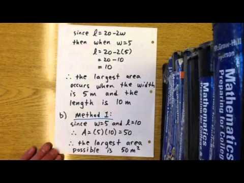 Quadratic word problem: area of rectangle (L + 2w)