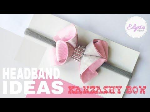 How To Make Kanzashi Hair Bow - DIY Grosgrain Ribbon Bow - Baby Headband Tutorial by Elysia Handmade