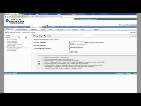 IN-How to Change login password of SBI online
