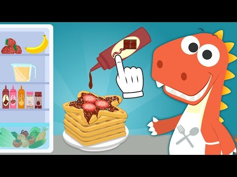 Learn with Eddie   How to make waffles   Eddie the Dino makes homemade waffles