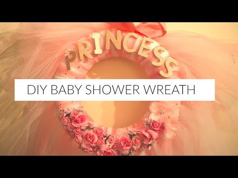 BABY SHOWER PINK AND WHITE WREATH DIY